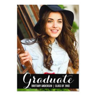 Graduation Photo Modern Card BW