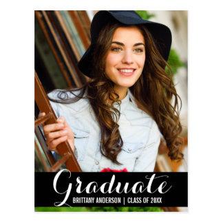 Graduation Photo Modern Postcard BW