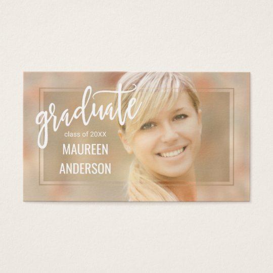 Graduation Photo Name Cards Handwritten Script