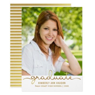 Graduation Photo Simple DIY Gold Stripe Flat Card