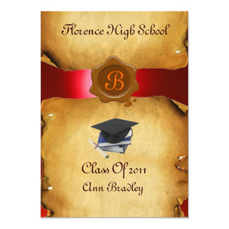 GRADUATION PHOTO TEMPLATE PARCHMENT red Wax Seal Personalized Announcements