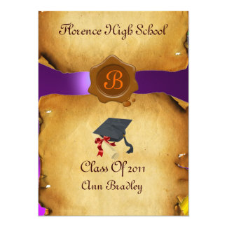 GRADUATION PHOTO TEMPLATE PARCHMENT Wax Seal Invitations