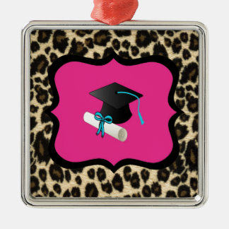Graduation - Pink Leopard / Cheetah Christmas Ornament
