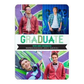 """Graduation Ribbon Photo Announcement Party Invite 5"""" X 7"""" Invitation Card"""