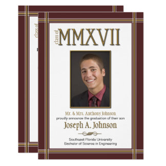 Graduation Roman Numerals Class of 2017 ANY COLOR Card