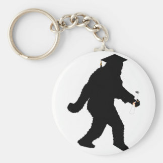 Graduation Sasquatch with Grad Cap Basic Round Button Key Ring