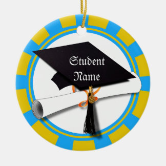 Graduation School Colors Blue And Gold (ZOOM!) Double-Sided Ceramic Round Christmas Ornament