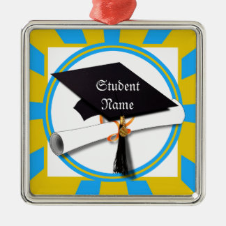 Graduation School Colors Blue And Gold (ZOOM!) Square Metal Christmas Ornament