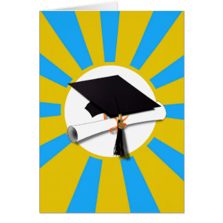 Graduation School Colors Blue And Gold (ZOOM!) Greeting Card