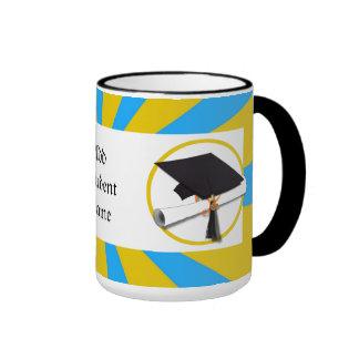 Graduation School Colors Blue And Gold (ZOOM!) Ringer Coffee Mug
