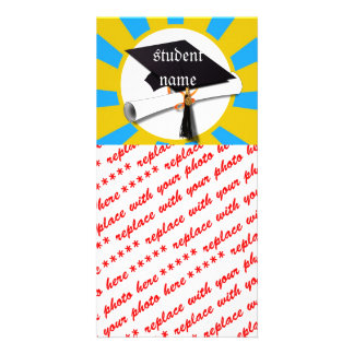 Graduation School Colors Blue And Gold (ZOOM!) Photo Cards