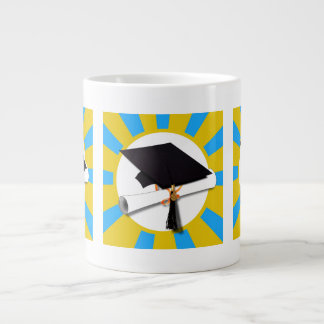 Graduation School Colors Blue And Gold (ZOOM!) Extra Large Mug