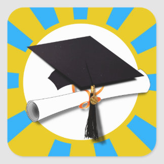 Graduation School Colors Blue And Gold (ZOOM!) Square Sticker