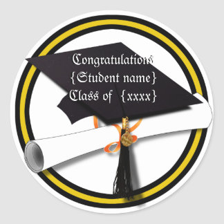 Graduation School Colors Gold And Black Classic Round Sticker