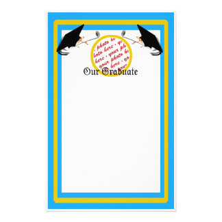 Graduation School Colors Lt. Blue& Gold Frame Personalized Stationery