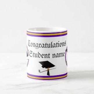Graduation School Colors Purple and Gold Basic White Mug