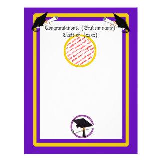 Graduation School Colors Purple and Gold 21.5 Cm X 28 Cm Flyer