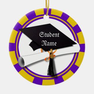 Graduation School Colors Purple and Gold (ZOOM!) Round Ceramic Decoration