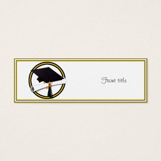 Graduation School Colours Gold And Black Mini Business Card