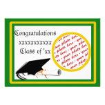 Graduation School Colours Green & Gold Frame Custom Announcement