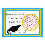 Graduation School Colours Lt. Blue& Gold Frame Personalised Invite