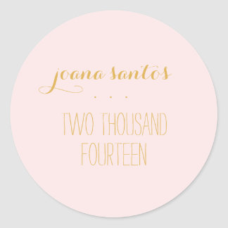 Graduation Seals Pink Gold Color 2014 Graduate Round Sticker