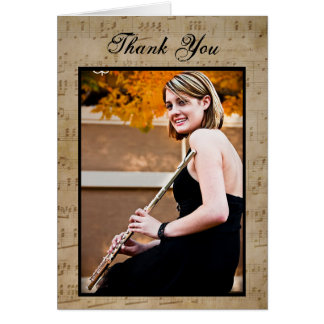 Graduation Sheet Music - Thank You Note Card