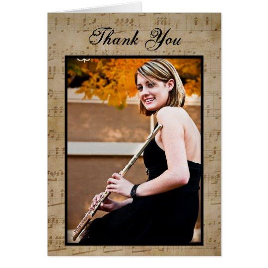 Graduation Sheet Music - Thank You Note Card