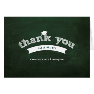 Graduation Sketch Chalkboard Photo Thank You Card