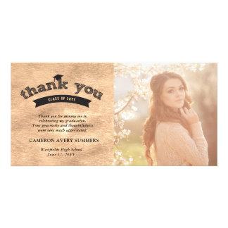 Graduation Sketch Copper Foil Thank You Photo Card