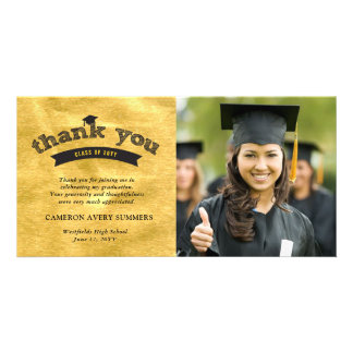 Graduation Sketch Gold Foil Thank You Photo Card