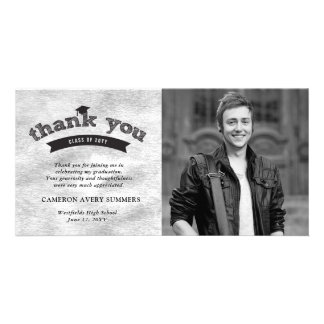 Graduation Sketch Silver Foil Thank You Photo Card