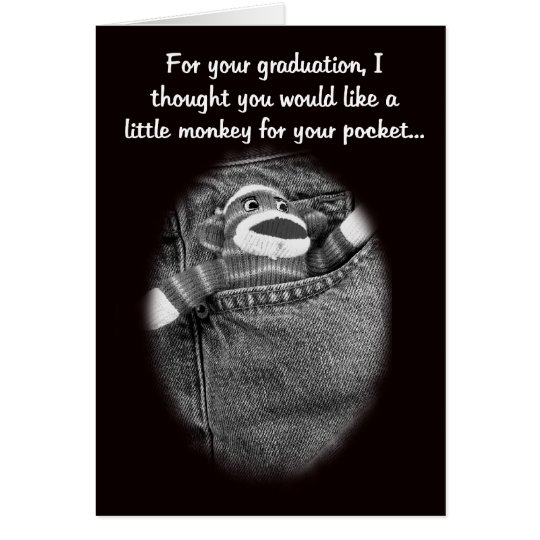 Graduation Sock Monkey Money Holder Card