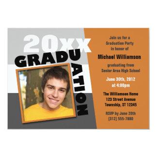 Graduation Squared Orange Photo Party Invitation