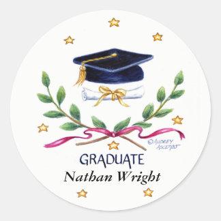 Graduation Stickers Victory Emblem Round