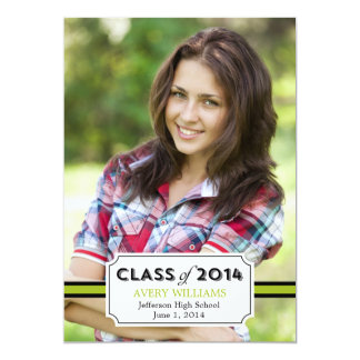 "Graduation Tag Graduation Invitation - Lime 5"" X 7"" Invitation Card"