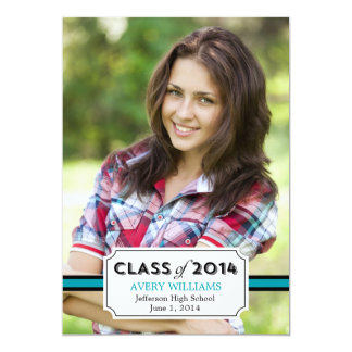 "Graduation Tag Graduation Invitation - Teal 5"" X 7"" Invitation Card"