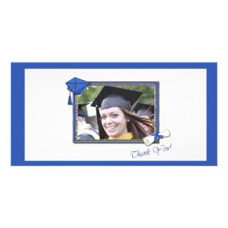 Graduation Thank You Blue Photo Cards