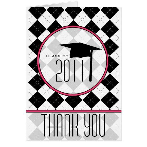 Graduation Thank You Card - Argyle