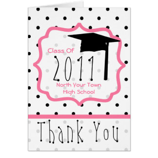 Graduation Thank You Card - Class Of 11 Polka Dot