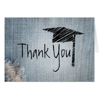 Graduation Thank You Card - Fade Blue Jeans