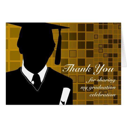 Graduation Thank You Card Mosaic Gold