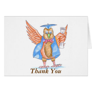 Graduation Thank You - Cartoon Owl in Cap and Gown Card