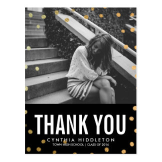Graduation Thank You Gold Confetti Photo Postcard