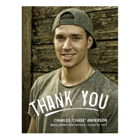 Graduation Thank You Modern Grunge Lettering Postcard