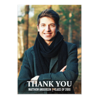 Graduation Thank You Modern Photo Card L W