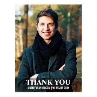 Graduation Thank You Modern Photo Postcard L W