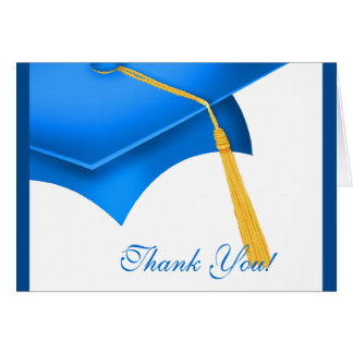 Graduation Thank You Note Card White Blue Grad Cap