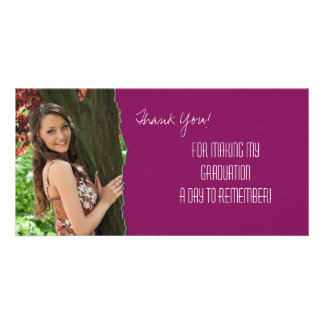 Graduation Thank You Photo Card Pink Torn Paper