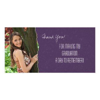 Graduation Thank You Photo Card Purple Torn Paper